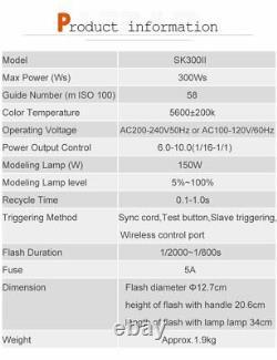 Godox Sk300ii 300ws Gn65 5600k Time Recycle Flash Stroboscopique Studio Light