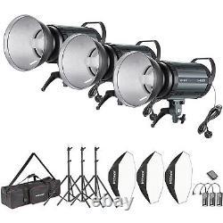 Neewer 1200w Studio Flash Stroboscopique Photographie Kit D'éclairage (3) 400w Monolight