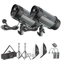 Neewer 2 Packs 300w 5600k Strobe Flash Light Kit Avec Softboxs Et Stands Légers