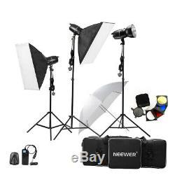 Neewer 750w (250w X 3) Pro Photographie Flash Studio Strobe Light Kit Éclairage