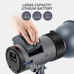 Neewer Ml300 Gn60 300w Studio Flash Strobe Light Avec Batterie Li-ion & Trigger