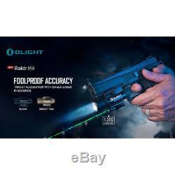 Olight Baldr Pro 1350 Pistolet Lumen Lampe De Poche Avec Laser Vert Sight (noir)