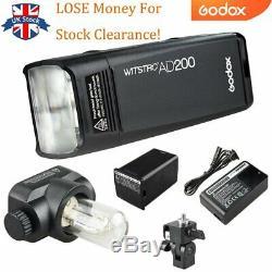 Perdre De L'argent Godox Ad200 200w 2.4g Ttl Stroboscope 1 / 8000s Hss Pocket Flash Light