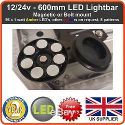 R65 Ambre Led Récupération Lumière Barre 600mm 12 / 24v Gyrophare Camion Léger Strobe