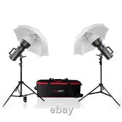 Studio Flash Strobe Lighting Twin Kit Avec Parapluie Blanc Translucide Twin 800ws