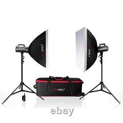 Studio Flash Strobe Lighting Twin Kit Avec Twin Double Diffusion Softbox 800ws