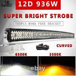 Tri-row 50'' Offroad Led Light Bar Curved Amber White 12v 24v Flash Strobe 52'