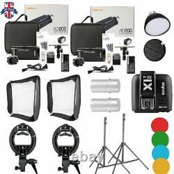 Uk 2pcs Godox 2.4 Ttl Hss Ad200 Flash+x1n Trigger+4040 Softbox+light Stand Kit