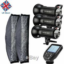 Uk 3x Godox Sk400ii 400w X 2.4g Flash Studio Strobe Light Head F Nikon