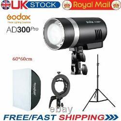 Uk Godox Ad300pro 300ws Ttl 2.4g Flash Light Extérieur Avec 6060cm Bowens Softbox