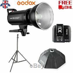 Uk Godox Sk300ii 300w 2.4g Stroboscope + 95cm + Softbox Lumière + Support X1t-c Pour Canon