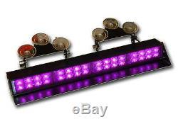 Violet Visor Light Bar Pont Dash Led Funéraire Avertissement D'urgence Clignotant Strobe