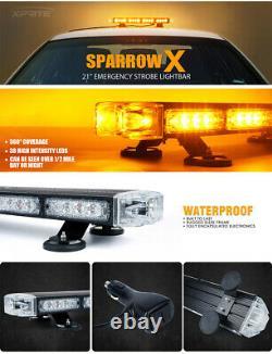 Xprite 21 Led Rooftop Strobe Light Bar Traffic Advisor Yellowithamber Heavy Duty
