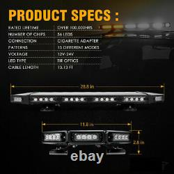 Xprite 27 Led Avertissement De Circulation Strobe Light Bar Amber White Pour Remorquer Jeep