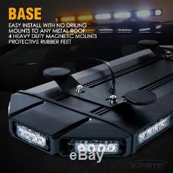 Xprite 27 Led Black Hawk Law Enforcement Roof Top Strobe Light Bar Ambre Blanc