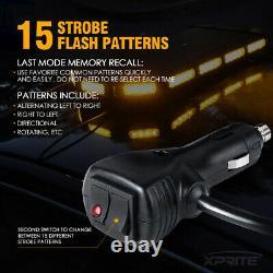Xprite 27 Pouces Amber Led Strobe Light Bar Stealth Alerte D'urgence De Service Lourd