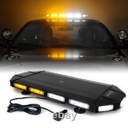 Xprite 27in Led Strobe Light Bar Traffic Enforcement Risque D'avertissement Blanc & Amber