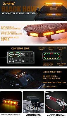 Xprite 48 Black Hawk De Sécurité Led Orange Avertissement Roof Top Strobe Light Bar