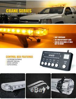Xprite Ambre 48 132 Led Sur Le Toit Strobe Light Bar Avec Support De Montage Jaune
