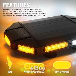 Xprite Ambre Blanc Black Hawk 18 Led D'avertissement Rooftop Stroboscope Light Bar